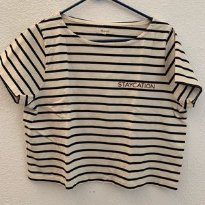 "Madewell Striped ""Staycation"" Crop Tee Sz M"